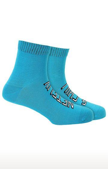 Soxytoes   Netflix Chill Blue Cotton Ankle Length Unisex Casual Socks