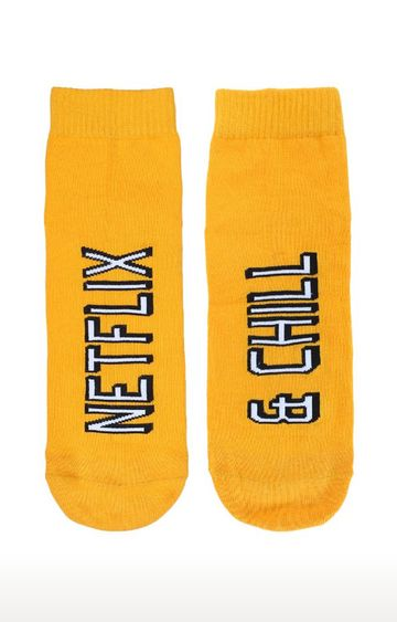 Soxytoes | Netflix Chill Yellow Cotton Ankle Length Unisex Casual Socks