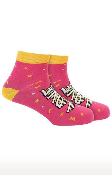 Soxytoes   Love Hate Pink Cotton Ankle Length Unisex Casual Socks