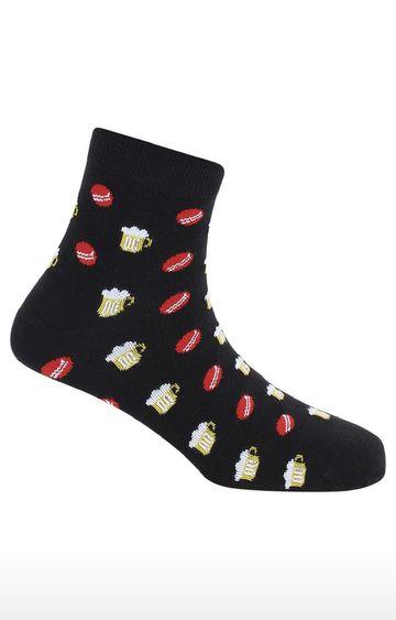 Soxytoes | Cricket Fever Black Cotton Ankle Length Unisex Casual Socks