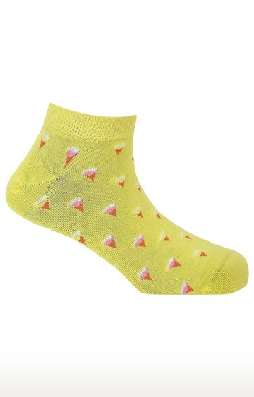 Soxytoes | All You Need Is Ice Cream Yellow Cotton Ankle Length Unisex Casual Socks