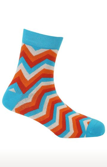 Soxytoes | Twisters Blue Cotton Ankle Length Formal Socks