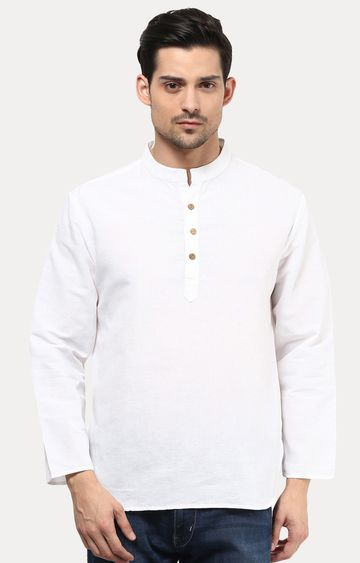 VIVIDS INDIA | White Solid Short Kurta