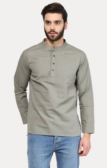 VIVIDS INDIA | Grey Solid Short Kurta