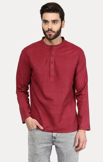 VIVIDS INDIA | Maroon Solid Short Kurta