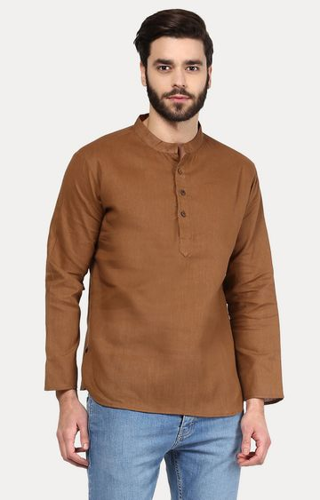 VIVIDS INDIA | Brown Solid Short Kurta