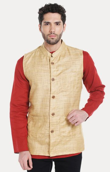 VIVIDS INDIA | Light Brown Melange Ethnic Jacket