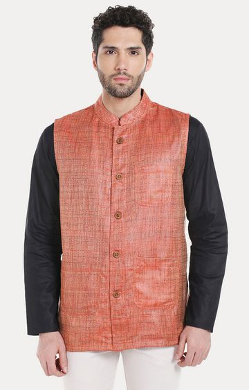 VIVIDS INDIA | Rust Melange Ethnic Jacket