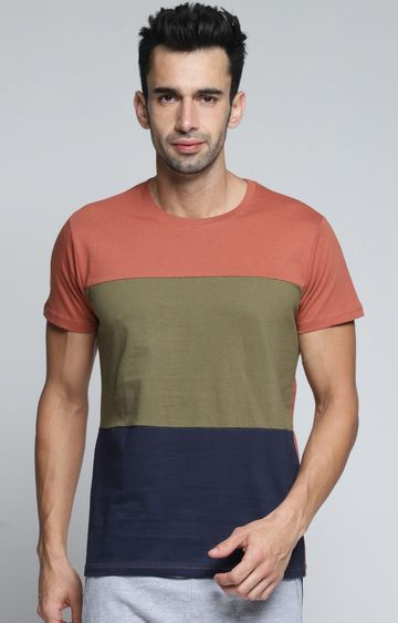 Dillinger | Olive and Blue Colourblock T-Shirt