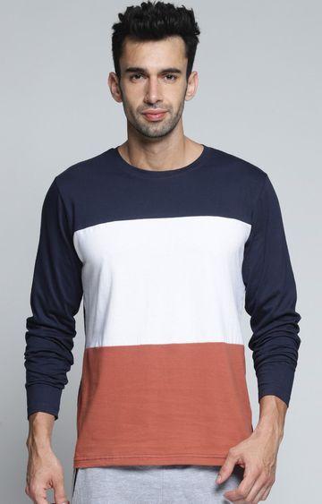 Dillinger | Navy and White Colourblock T-Shirt