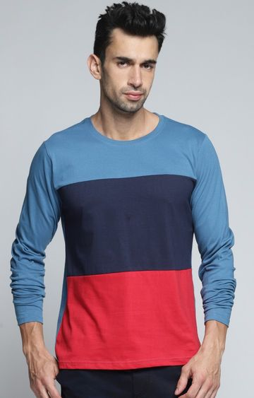 Dillinger | Blue and Red Colourblock T-Shirt