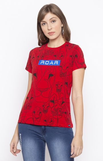 DISRUPT | Red Printed T-Shirt