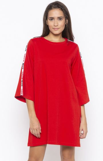 DISRUPT | Red Solid Shift Dress