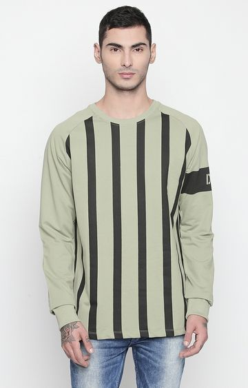 DISRUPT | Light Olive Striped T-Shirt
