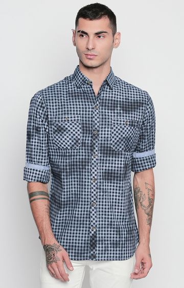 DISRUPT | Blue and Navy Checked Casual Shirt