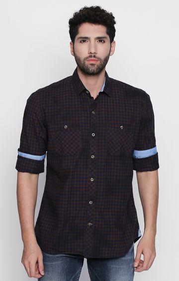 DISRUPT | Brown Checked Casual Shirt