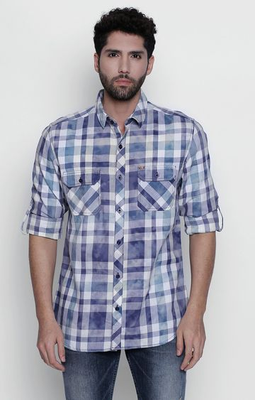 DISRUPT | Blue Checked Casual Shirt