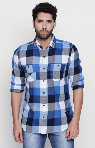 DISRUPT | Blue Checked Casual Shirt
