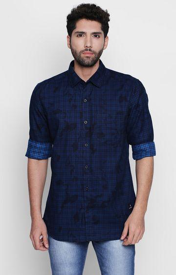 DISRUPT | Navy Checked Casual Shirt