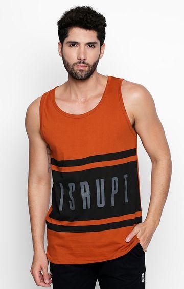 DISRUPT   Rust Colourblock Sleeveless T-Shirt