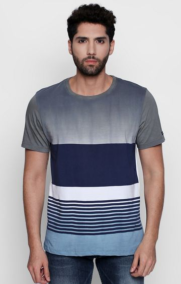 DISRUPT | Grey and Blue Striped T-Shirt