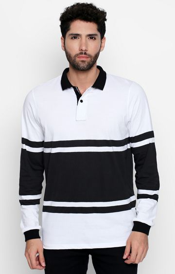 DISRUPT | White Colourblock Polo T-Shirt