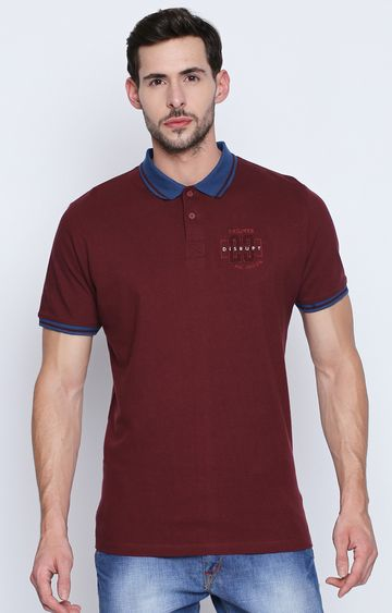 DISRUPT | Wine Solid Polo T-Shirt