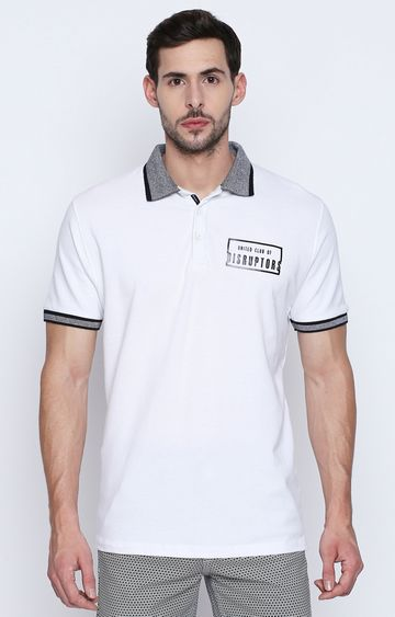 DISRUPT | White Solid Polo T-Shirt
