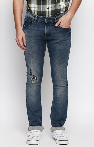 DISRUPT | Blue Solid Straight Jeans