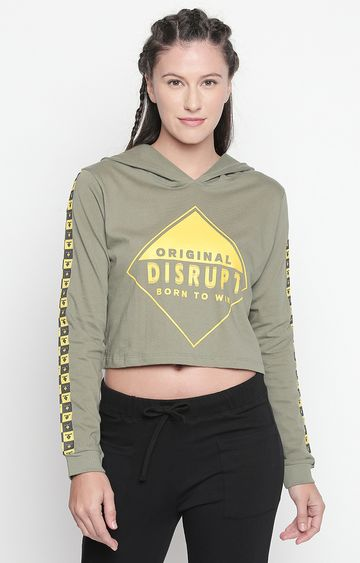 DISRUPT | Light Olive Printed Crop Hoodie