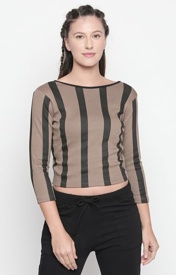 DISRUPT | Brown Striped Crop Top