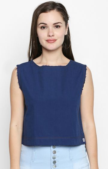 DISRUPT | Blue Solid Crop Top