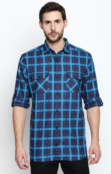 DISRUPT | Navy Blue Checked Casual Shirt