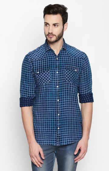 DISRUPT | Green and Blue Checked Casual Shirt