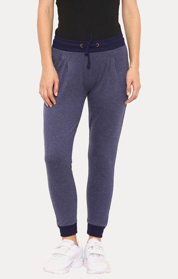 De Moza | De Moza Women's Jogger Solid Cotton Melange Navy Blue Melange