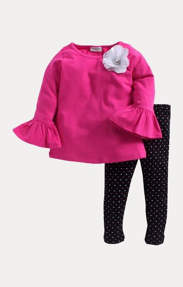 Crayonflakes | Pink and Black Printed Twin Set