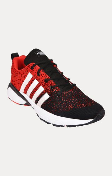 Allen Cooper   Black and Red Running Shoes