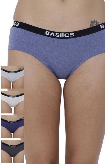 BASIICS by La Intimo | Multicoloured Solid Hipster Panties - Pack of 5