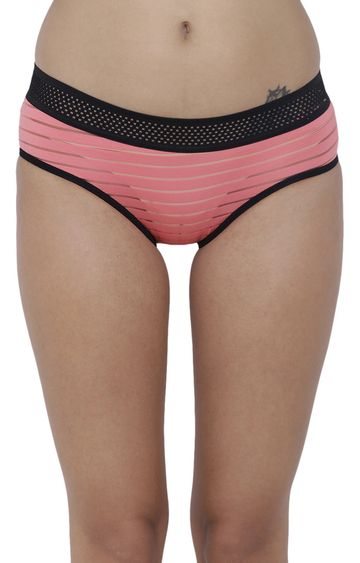 BASIICS by La Intimo | Coral Striped Hipster Panties