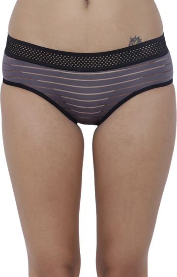BASIICS by La Intimo | Grey Striped Hipster Panties