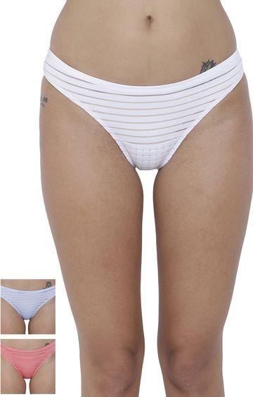 BASIICS by La Intimo   Multicoloured Striped Bikini Panty - Pack of 3
