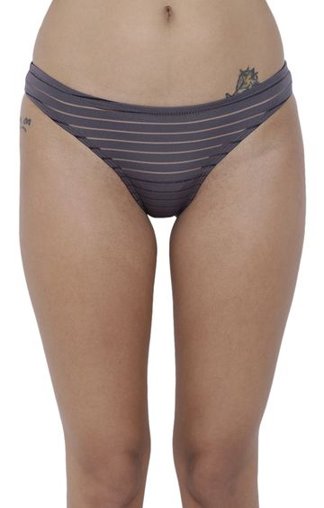 BASIICS by La Intimo | Grey Striped Bikini Panty