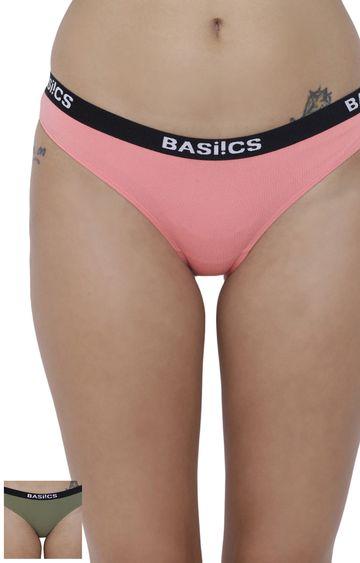 BASIICS by La Intimo | Coral and Green Solid Bikini Panty - Pack of 2