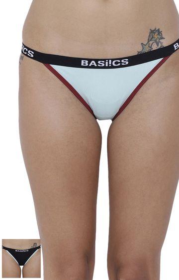BASIICS by La Intimo | Black and Blue Solid Bikini Panty - Pack of 2