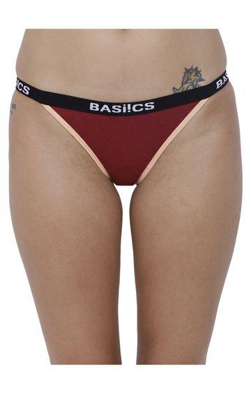 BASIICS by La Intimo | Maroon Solid Bikini Panty