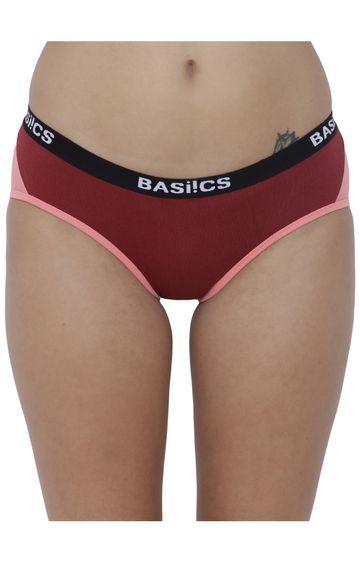 BASIICS by La Intimo | Maroon Colourblock Hipster Panties