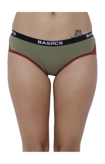 BASIICS by La Intimo | Olive Colourblock Hipster Panties