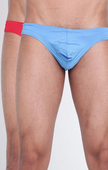 BASIICS by La Intimo   Blue & Red Magic Flash Thong - Pack of 2
