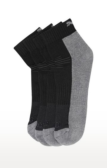 Puma | Grey and Black Solid Socks - Pack of 2