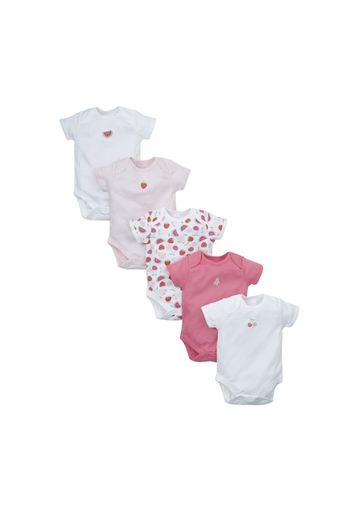 Mothercare | Girls Fruit Half Sleeve Bodysuits - Pack Of 5 - Multicolor